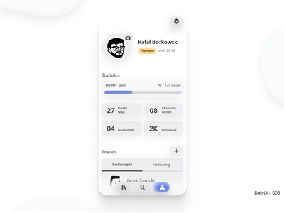 DailyUI :: 006 - Profile Screen blur peeps 3d emotion dailyui white clear ui app figma design concept minimal