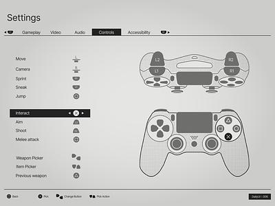 DailyUI :: 007 - Settings Screen metalgear nier game gamepad ps4 black dailyui white clear ui app figma design concept minimal