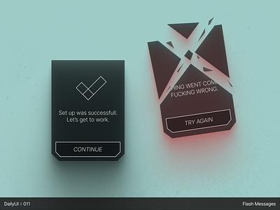 DailyUI :: 011 - Flash Messages 2020 decomposition simple minimal interface geometric design creative concept clean dailyuichallenge dailyui app figma abstract