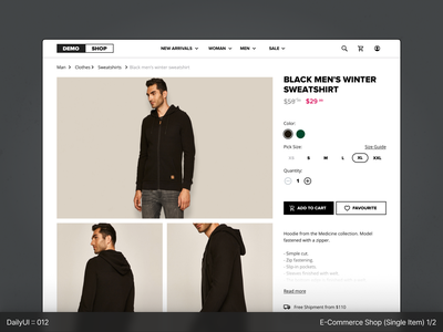 DailyUI :: 012 - E-Commence, Single Item  (1/2) geometric dailyuichallenge black dailyui white ui clear app figma design concept minimal