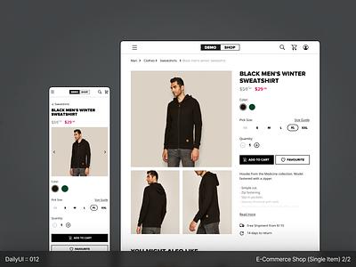 DailyUI :: 012 - E-Commence, Single Item (1/2) dailyuichallenge dailyui white ui clear app figma design concept minimal