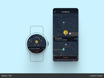 DailyUI :: 020 - Location Tracker minimal watch map dark mode 2d dark ui dailyuichallenge ui app figma design concept