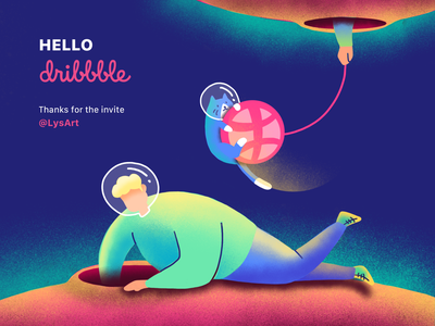 Hello Dribbble space universe cat illustration invites the little prince hello dribbble first shot