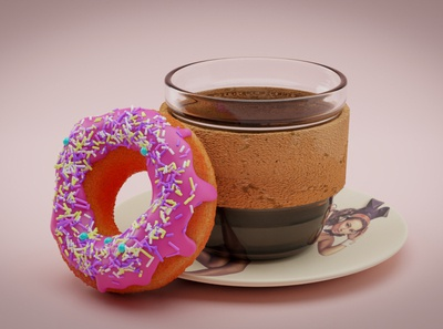 Hello World render coffee cup doughnuts blender product design graphic design design personal experimental first design 3d artist