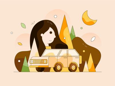 Take you to travel girl people tree love car illustrator