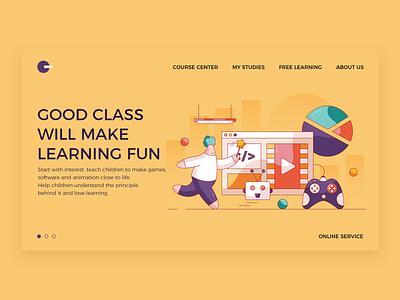 Fun classroom design program software game baby web ui illustration