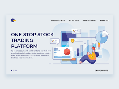 One stop stock  trading  platform transaction shares web ui illustration