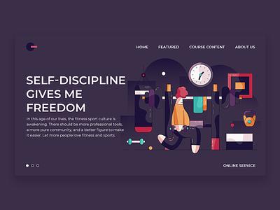 Self-disciplined fitness sandbag yoga dumbbell gym fitness motion design ui web illustration work out