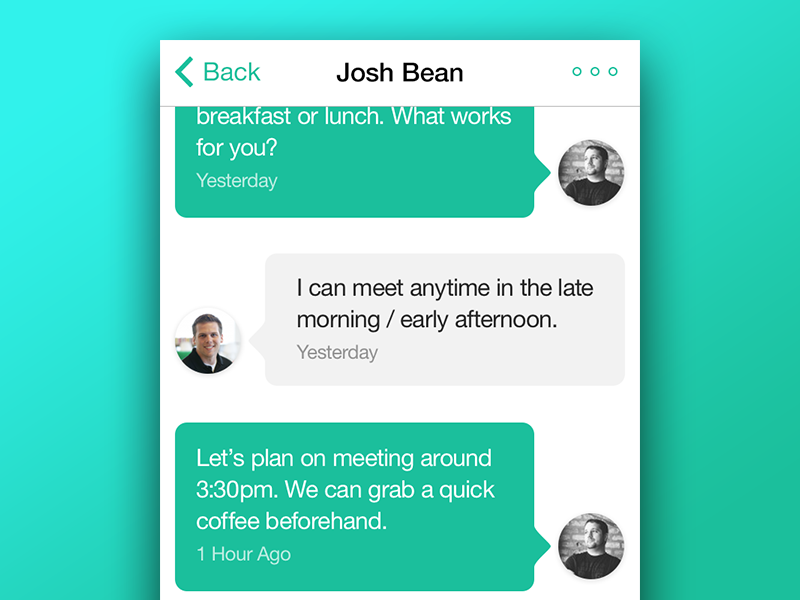 SMS Chat in Base chat product design ios