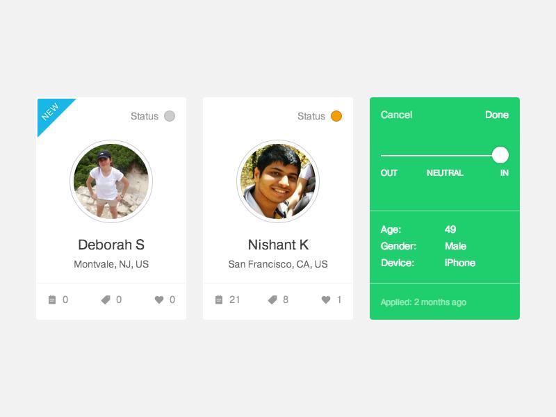 Participant Cards + Backside Preview ux dscout ui cards web apps apps