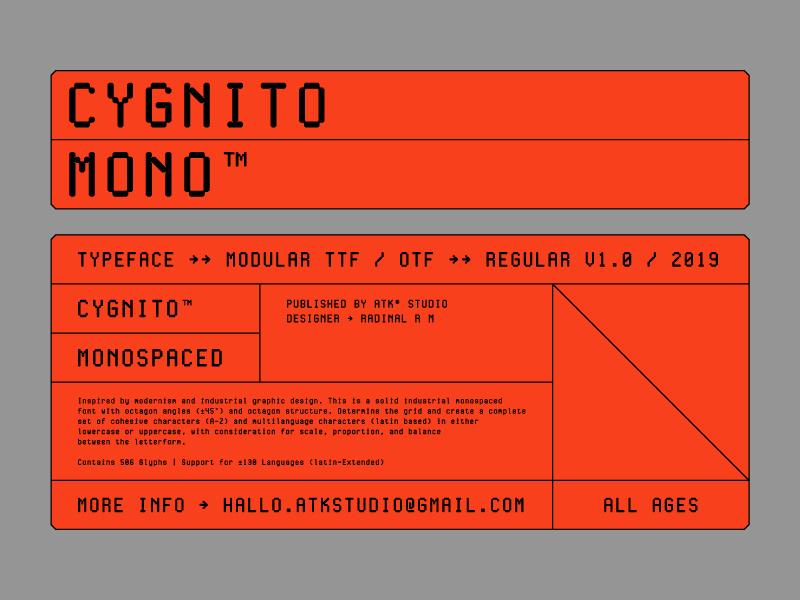 Cygnito Mono™ display font tech font indonesia new font coding font coding regular font regular otf ttf modular font modular monospaced font monospaced cygnito typeface cygnito font cygnito mono cygnito