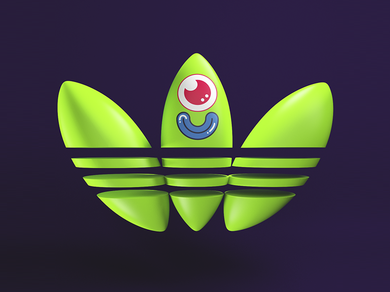 Adidas Green 2D Face 3d cgi maxon character funny neon colors design illustration adidas