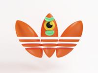 Adidas Orange 3D Face