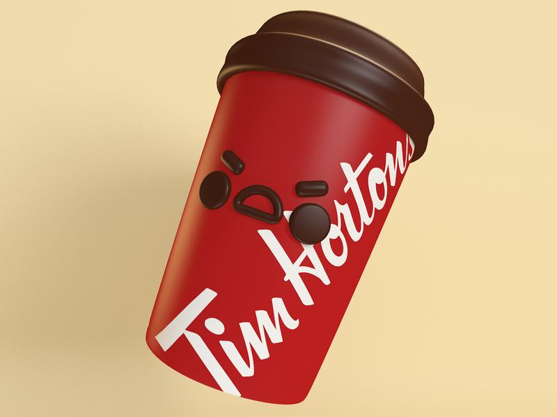 Angry Tim coffee re design photoshop illustration maxonc4d maxon renderman cgi character tim hortons