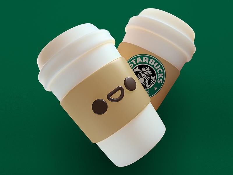 Happy Starbucks c4d maxon render cgi illustration photoshop character design coffee starbucks