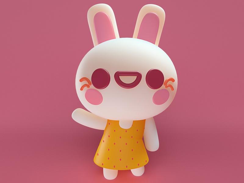 Amber cute 3d maxon render cgi photoshop illustration design character bunny