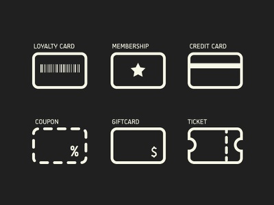 Cards Icons commerce icons minimal