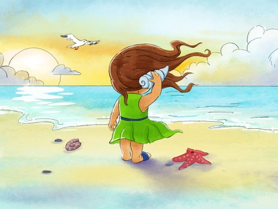 Beach Sunset conch shell starfish seagull sea illustration girl beach watercolor
