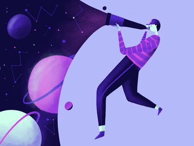 Flat illustration Daily - space looking character illustration digital product