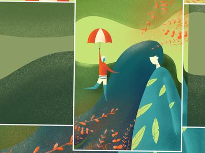 Flat illustration Daily - green woman character