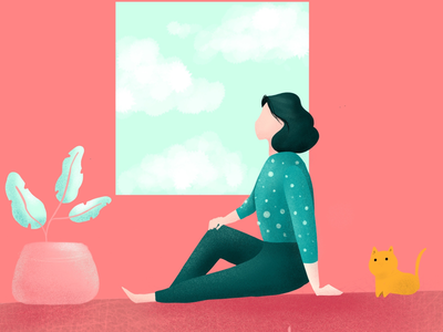 Flat illustration Daily - Sky watching character