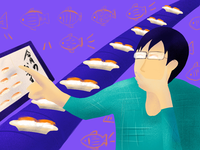 Flat illustration Daily - Sushi man food
