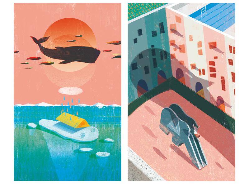 Escapees taiwan photoshop ocean illustrator illustration illo editorial design animal
