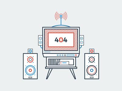 404 Page 008 video speakers antenna tv error 404 interface ui app minimal dailyui
