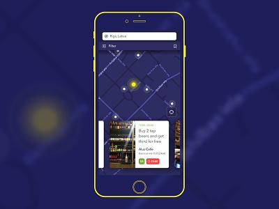 Happy Hour iphone cards map happyhour ux ui night app