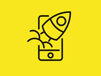 Mobile Rocket outline simple mark rocket phone logo