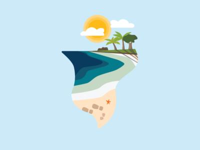 The Beach sand waves sun illustration graphic design beach