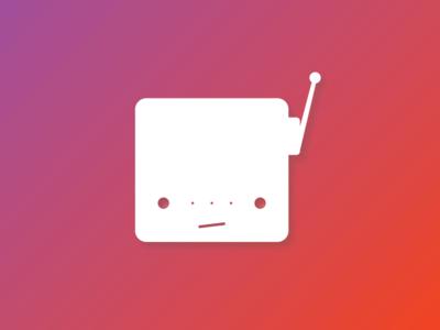 Unimpressed Robot (Gradient) white create print logo design cute robot