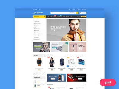 Supermart - Stylist Ecommerce PSD Template  layer online sale subscribe website template uisumo psddd ecommerce freebie