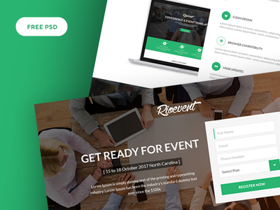 Free Event PSD Template 4 Versions - RioEvents freebies icons logo uisumo templates ui kit mockup gradient web page shot landing page dribbble