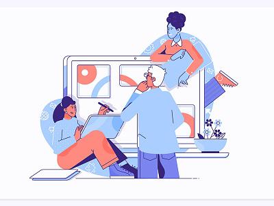 Teamwork communication technology design illustration building symbol people human teamwork team vector business flat line