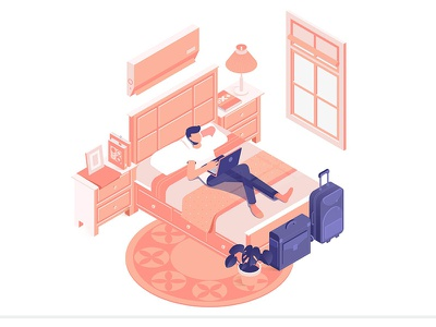 Online Hotel Reservation booking hotel freelance home work out isometric illustration vector