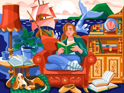 Book world 4 happy library information illustration relax dog ship book reading
