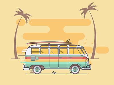 Summer vacation vintage surf summer side sea retro car camper bus board beach