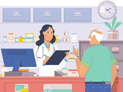 Pharmacist serving senior man in pharmacy chemist.