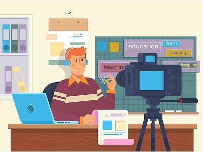 Education video blog filming. tutorials. video creating
