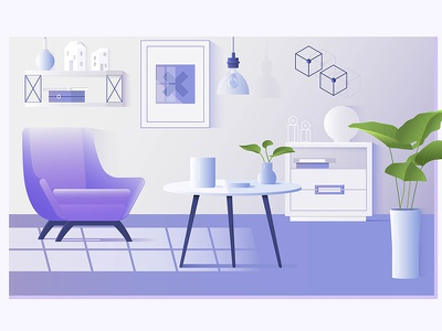 Interior of the living room modern lamp house furniture decoration chair apartment interior home flat design living room