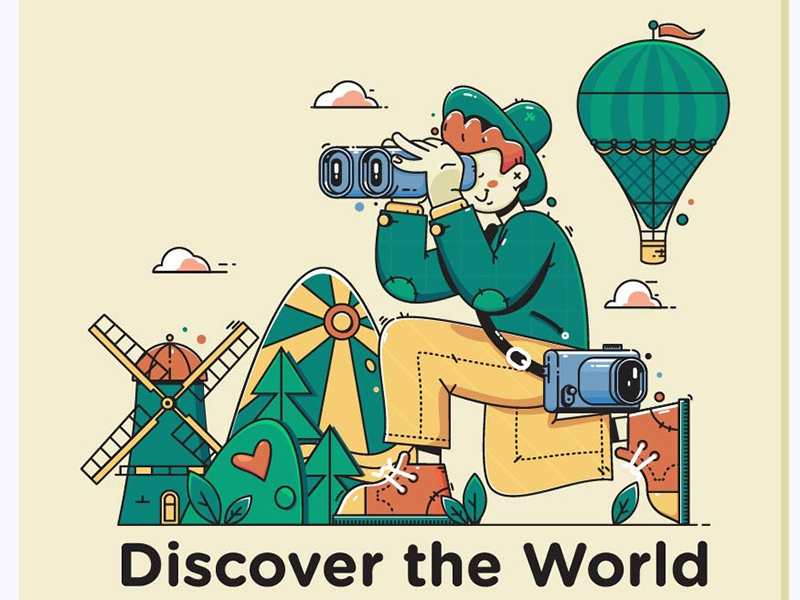 Discover the World journey people nature activity looking young tourism lifestyle leisure adventure trip tourist country binoculars