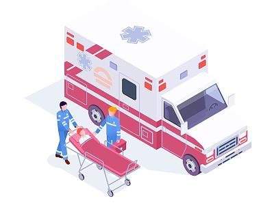 Ambulance Service isometric health doctor care illustration vector healthcare medical emergency medicine ambulance hospital