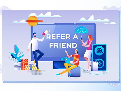 Refer a friend concept teamwork recommend network marketing illustration design business vector referral friend refer