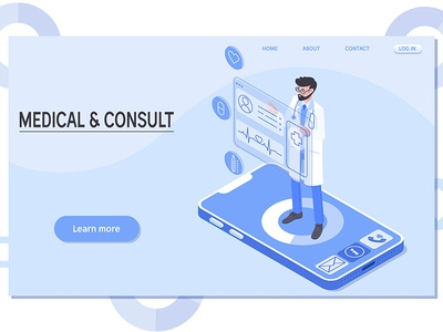 Medical consultation isometric illustration medical healthcare technology health vector consultation diagnosis medicine isometric online doctor