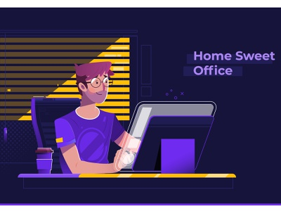 Home Office professional night modern laptop internet communication using office typing computer business man