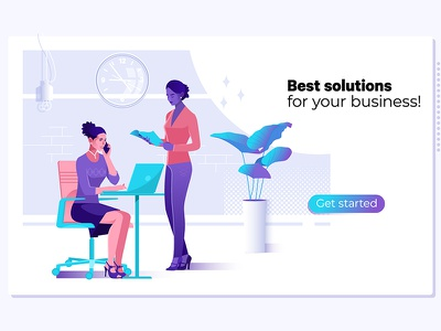 Business solution suppor landing company partnership development businessman mobile marketing illustration flat consulting solution business success