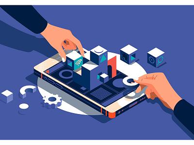 User experience concept developer designer design creative content concept business banner background apps app 3d