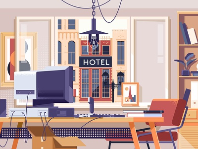Workspace Room Concept vector workspace work table job desk concept business modern illustration furniture chair window room home flat design background interior office