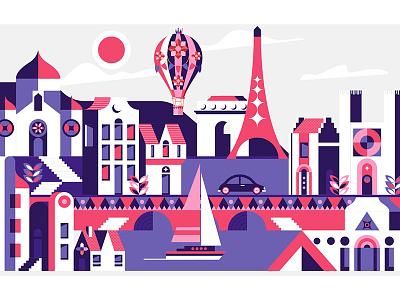 Paris, France.Famous landmarks. monument landmark france europe eiffel city architecture french famous travel paris poster
